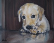 Yellow Labrador Retriever Paintings - Puppy Aaron by Jindra Noewi