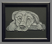 Cute Glass Art Framed Prints - Puppy Framed Print by Akoko Okeyo