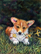 Pembroke Welsh Corgi Framed Prints - Puppy in the Daffodils - Pembroke Welsh Corgi Framed Print by Lyn Cook