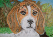 Pup Drawings Posters - Puppy Love ACEO Poster by Yvonne Johnstone