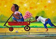 Child Wagon Print Posters - Puppy Love Poster by Arthur Covington