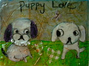Puppy Mixed Media Originals - Puppy Love by Denise Rivkin
