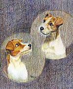 Terriers Drawings Prints - puppy Love Print by Jimmie Trotter