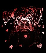 Boxer Mixed Media - Puppy Love by Maria Urso - Artist and Photographer