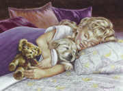 Sleeping Puppies Posters - Puppy Love Poster by Richard De Wolfe