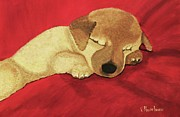 Paws Paintings - Puppy Nap Time by Victoria Rhodehouse