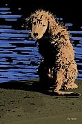 Retriever Mixed Media Posters - Puppy on Pier Pop Art Poster by Bibi Romer