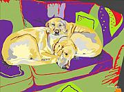 Labradors Digital Art Framed Prints - Puppy Pile of Two Framed Print by Su Humphrey