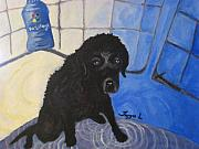 Black Lab Puppy Paintings - Puppy by Taryn L