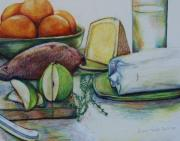 Oranges Drawings - Purchases From The Farmers Market by Anna Mize Bell