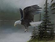 Bald Eagles Pastels Posters - Purden Lake Poster by David Vincenzi