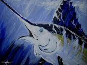 Hawaiian Fish Paintings - Pure Blue by William Depaula