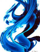 Blue And White Painting Prints - Pure Water 115 Print by Sharon Cummings