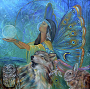 Wolves Painting Prints - Purification Print by Sundara Fawn