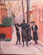 Purim Prints - Purim in Boro Park Print by Carla Goodstein