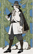 Colonial Man Posters - Puritan Clothing, 1620 Poster by Photo Researchers