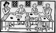1600s Posters - Puritan Family Meal, 17th Century Poster by Everett