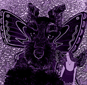 Pets Digital Art - Purple and Black Butterfly Pets Schnauzer by Tisha McGee
