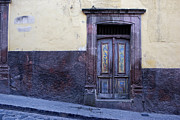 Spanish Prints - Purple and Blue Door Mexico Print by Carol Leigh