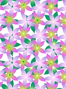 Green Color Art - Purple And Green Flowers On A White Background by Lana Sundman
