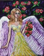 Figure Pose Paintings - Purple Angel Of Love  by Yelena Rubin