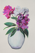 Peony Drawing Posters - Purple Azalea Spring Bouquet Poster by Asha Carolyn Young