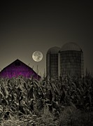 Farm Scene Framed Prints - Purple Barn Moon Framed Print by Emily Stauring