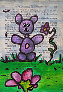 Purple Flowers Drawings - Purple Bear by Jera Sky