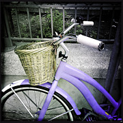 Bicycle Basket Prints - Purple Bike And Basket Print by Danielle Donders - Mothership Photography