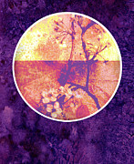Digital Collage Mixed Media Posters - Purple Blossom Poster by Ann Powell