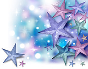Backdrop Digital Art Originals - Purple Blue Star Background by Angela Waye