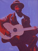 American Singer Paintings - Purple Blues by Kaaria Mucherera