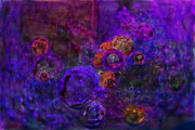 Exquisite And Beautiful Digital Art Prints - Purple Bubbles Painting Print by Don  Wright
