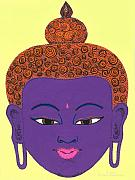 Illustrative Prints - Purple Buddha Print by Michelle  Darensbourg