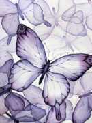 Watercolor. Butterfly Paintings - Purple Butterflies by Christina Meeusen