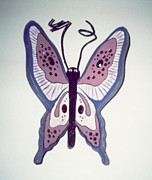 Wooden Sculptures Prints - Purple Butterfly Print by Val Oconnor