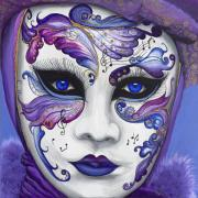 Mask Painting Framed Prints - Purple Carnival Mask  Framed Print by Patty Vicknair