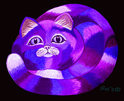 Funny Cats Posters - Purple Cat Poster by Nick Gustafson