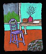 Interior Still Life Painting Metal Prints - Purple Chair Metal Print by Wayne Potrafka