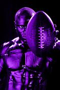 Football Player Posters - Purple Challenge Poster by Val Black Russian Tourchin
