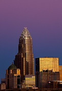 Charlotte Framed Art Photos - Purple Charlotte Skyline by Patrick Schneider