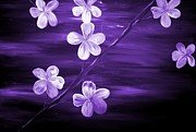Silver Moonlight Art - Purple Cherry Blossom by Mark Moore