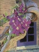Vine Painting Originals - Purple Clematis by Lynne Reichhart