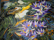 Karen Lundquist Metal Prints - Purple Crocuses in March Metal Print by Karen Lundquist