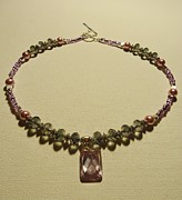 Charm Necklace Jewelry - Purple Crystal Sweetheart  by Jenna Green