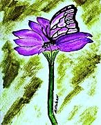 Purple Artwork Mixed Media Posters - Purple Daisy and Friend Poster by Marsha Heiken
