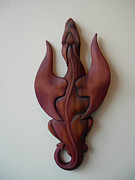 Carving Sculptures - Purple Dragon Plaque by Shane Tweten