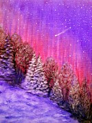 Snowy Night Painting Posters - Purple Dream  Poster by Irina Astley