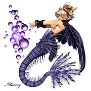 Mermaids Digital Art - Purple  Drems by Ralph Rey