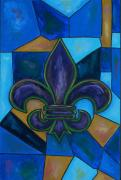 Canada Paintings - Purple Fleur de Lis by Patti Schermerhorn